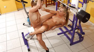 Sporty amateur lesbian gets her pussy licked and fisted in the gym