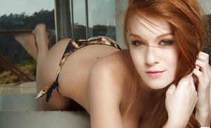 Big busted babe Leanna Decker stripping off her bikini outdoor