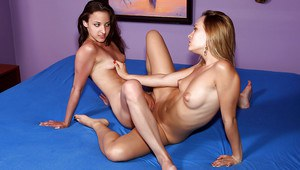 Lusty amateur lesbians having some fun with a huge strapon