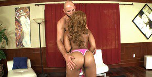Pretty ebony chick with petite fanny gives a blowjob and gets fucked