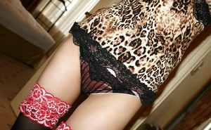 Filthy asian teen girl in stockings teasing her slit and stripping