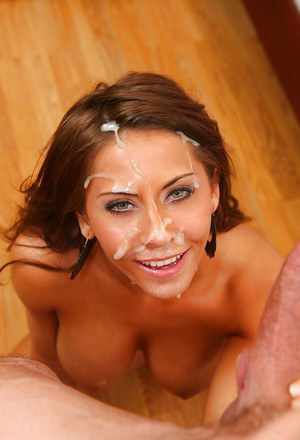 Naughty hottie with big tits Madison Ivy sucks a fat cock and gets facialized