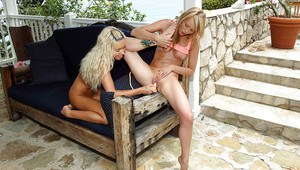 Stunning amateur teenage lesbians playing with their toys outdoor