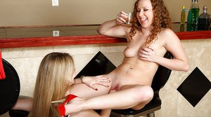 Foxy lesbian with nice jugs exploring fisting pleasures with her friend
