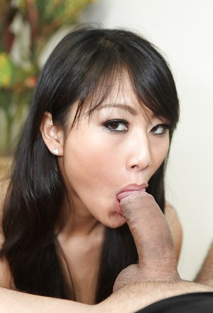 Filthy asian chick Evelyn Lin gets facialized after a sensual blowjob
