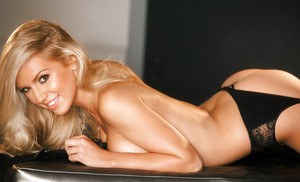 Hot blonde in stockings Sydney Barlette showcasing her gorgeous curves