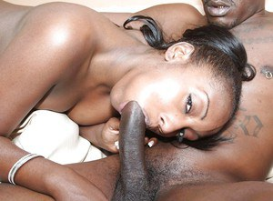 Naughty ebony chick gets banged and sucks off a big black cock