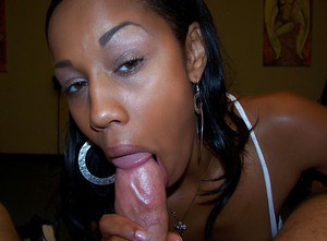 Naughty ebony babe Misty Stone gives a blowjob and gets facialized