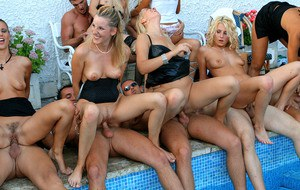 Cum hungry sluts getting fully satisfied at the pool sex party
