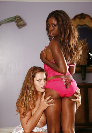 Busty babe Heather Silk is into pussy licking action with her ebony friend