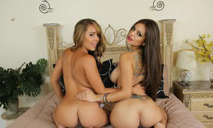 Teaming hot gals are into threesome groupsex with a lucky guy