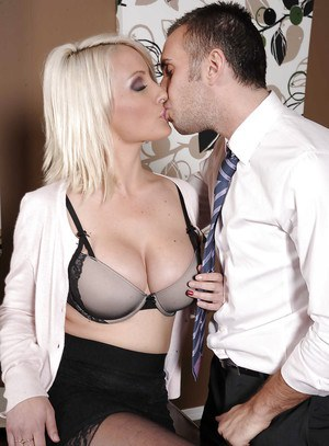 Adorable office blonde in stockings Lexi Swallow gets screwed hardcore
