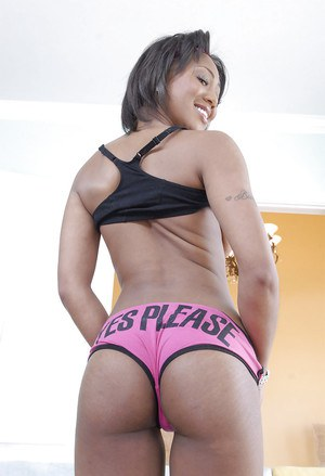 Ebony hottie Evanni Solei taking off her panties and spreading her legs