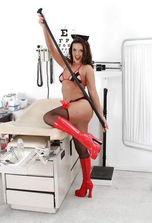 Hot babe in nurse uniform taking off her panties and toying her tight asshole
