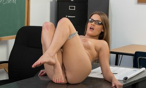 Filthy coed in glasses Ashlynn Leigh stripping and spreading her legs