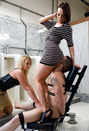 Flower Tucci & Dana DeArmond have a kinky groupsex with submissive guy