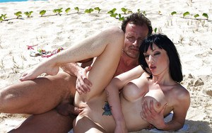Horny brunette Sofia Valentine gets her love holes cocked up outdoor