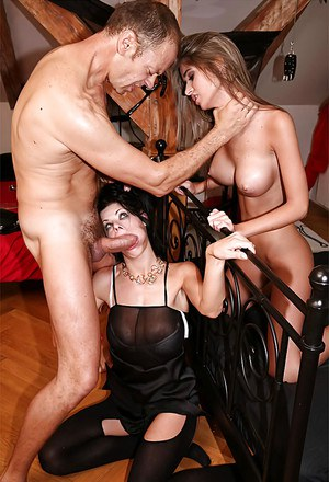 Slim babe with big tits Nessa Devil sharing a big cock with her friend