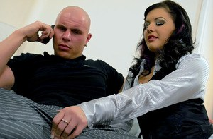 Rihanna Samuel has some hardcore fully clothed fun with a bald guy