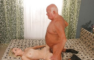 Svelte blonde babe gets shagged hardcore by a horny oldman