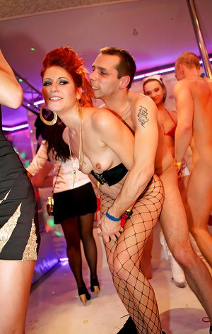 Steaming hot lassies have a wild orgy party with well-hung male strippers