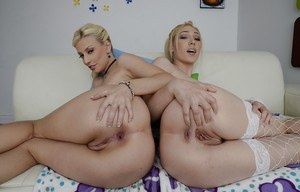 Tempting babes Jessie Volt & Lily Labeau slipping off their lingerie