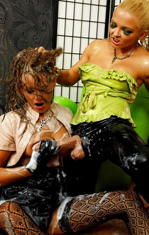 Jenna Lovely is into messy strapon fun with her sexy friend