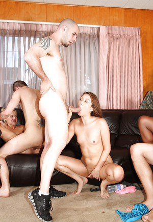 Jodi Taylor receives a double cumshot after hardcore groupsex at the party