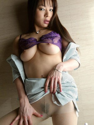 Sweet asian babe with big tits has no panties under her pantyhose