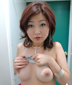 Petite asian cutie with perky tits taking off her top and panties