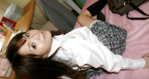 Naughty asian schoolgirl gets her muff stuffed by a toy and a hard cock
