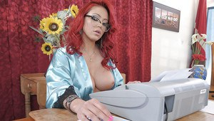 Horny MILF in glasses Mia Lelani stripping and toying her asshole