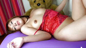 Sweet asian amateur with bushy cunt posing barely clothed