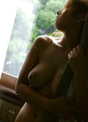 Bosomy asian babe with puffy nipples Yuka Hata slipping off her lingerie