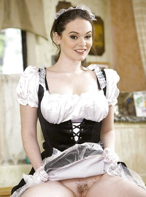 Bosomy maid Tessa Lane slipping off her uniform and lingerie