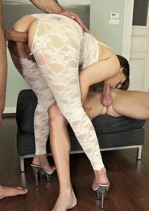 Asian slut Tigerr Benson has some anal fun with two well-hung guys