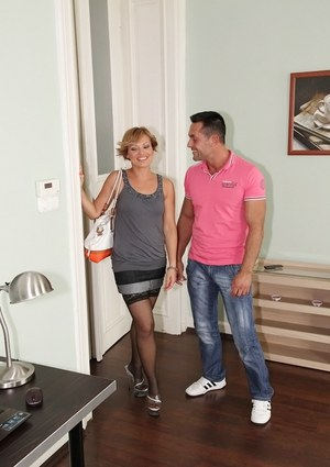 Adorable MILF Szilvia Lauren gets her hairy pussy licked and cocked up