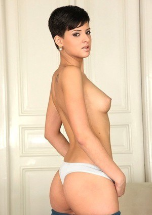 Short haired european babe Alice Romain stripping and spreading her legs