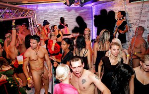 Saucy european hotties suck and fuck hard cocks at the mad party