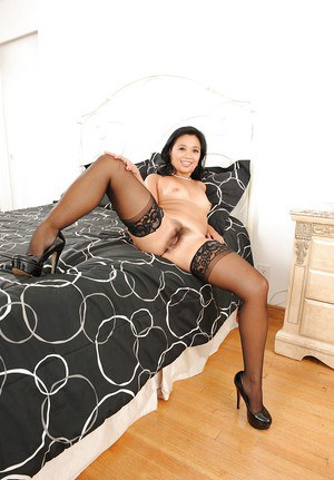 Mature asian lady with hairy muff Lucky Starr stripping off her clothes