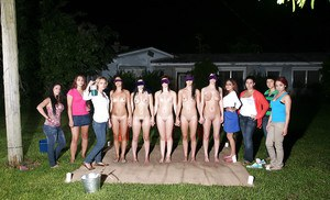 Cuddly sorority pledges get involved in wet lesbian games outdoor