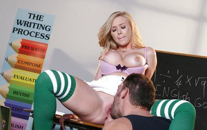 Sultry blonde coed Dylan Riley sucks and fucks a rigid prick