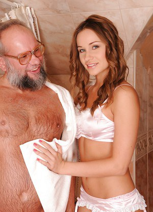 Naughty european sweetie gives a blowjob to an oldman and fingering his ass