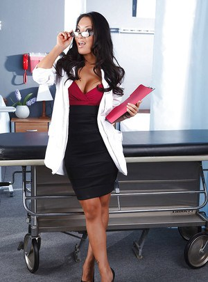 Stupendous doctor in glasses Asa Akira stripping in her office