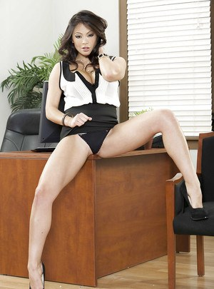 Adorable asian MILF with big bosoms Mia Lelani stripping in the office