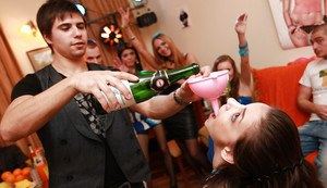 Drunk teenage gals get involved in a fervent orgy at the house party