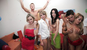 Salacious coeds spend some good time with male strippers at the house party