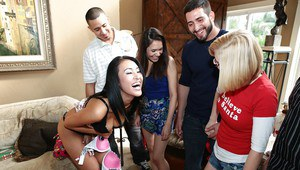 Lecherous teenage hotties enjoy a wild groupsex at the house party