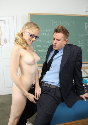 Horny coed in glasses Tracey Sweet gets her shaved cunt banged hardcore