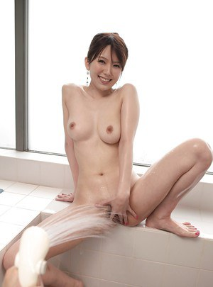 Playful asian amateur Yui Hatano taking shower and teasing her muff